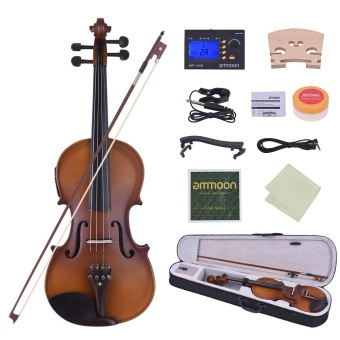 ammoon Full Size 4/4 Acoustic Electric Violin Fiddle Solid Wood Body Ebony Fingerboard Pegs Chin Rest Tailpiece with Bow Hard Case Tuner Shoulder Rest Rosin Extra Strings & Bridge Natural Wood Color - intl