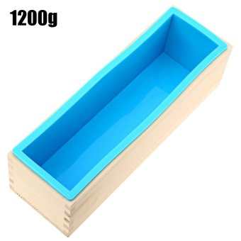 1200g Silicone Soap Loaf Mold Wooden Box DIY Making Tools - intl