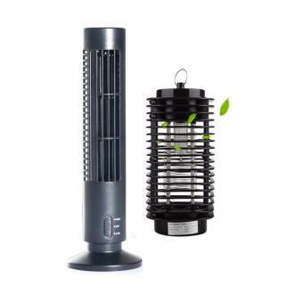 G@Best 2-Speed USB Tower Fan (Black) with Electric MosquitoKiller/Zapper Bug Fly Trap Pest