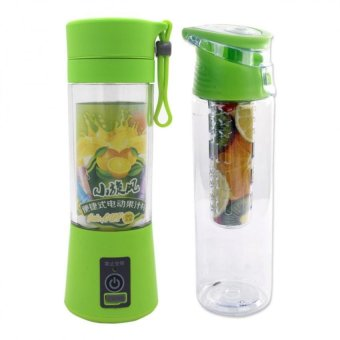 HM-03 Portable and Rechargeable Battery Juice Blender 380ml (YellowGreen) with Fruit Juice Tumbler 700ml (Green)