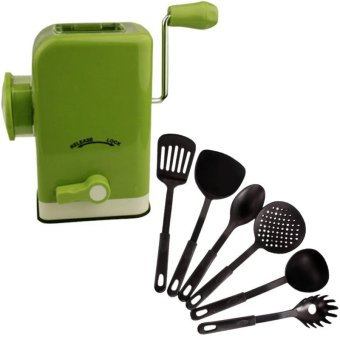 Multifunctional Meat Grinder (Chartreuse) With Heat ResistancePlastic Ladle 6-Piece Set (Black)