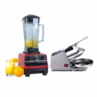 Rukia 2L Commercial 3HP Blender Mixer HEAVY DUTY Ice Crusher 2200W (Red) with Ice Smashing Electric Crusher Machine (Silver)