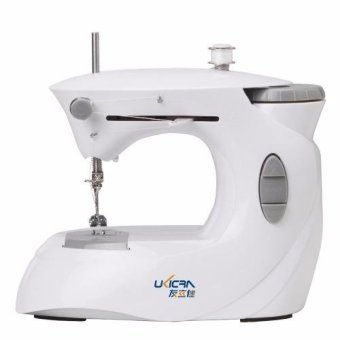 Ukicra 0201 NEW Double-Speed Sewing Machine with Straight Stitchingand Built-In LED Light WHITE