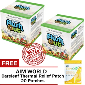 Flush Out Colon Cleanse Prebiotics & Probiotics 2 Boxes (10 Sachets/Box) with FREE Aim Global Careleaf Thermal Relief Patch