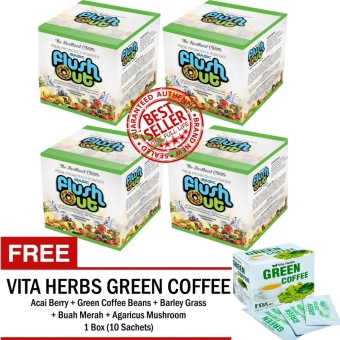 Flush Out Colon Cleanse Prebiotics & Probiotics 4 Boxes (10 Sachets/Box) FREE 1 Box Vita Herbs Green Coffee
