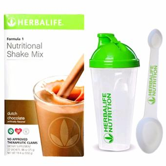 Herbalife F1 Nutritional Shake Dutch Choco 22 Sachets w/ Shaker and Spoon