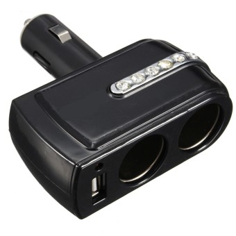 12v 2 Way Car Cigarette Lighter Power Socket Charger Adapter & USB Port Charger