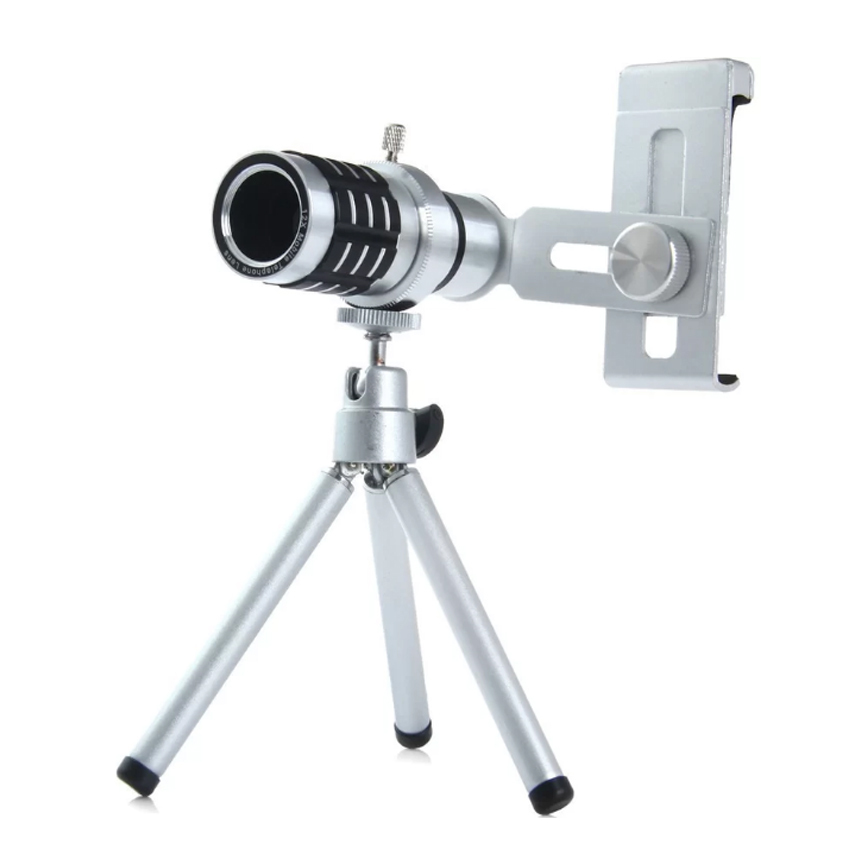 12X Zoom Clip-on Long Focus Telescope Lens Monocular for MobilePhone(SILVER)