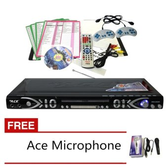 Ace MIDI-8595 Slim All-In-One Karaoke/DVD Player Set have Games andRadio (Black) with Free Ace-504 Microphone
