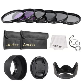 Andoer 52mm Lens Filter Kit UV+CPL+FLD+ND(ND2 ND4 ND8) with CarryPouch / Lens Cap / Lens Cap Holder / Tulip & Rubber Lens Hoods/ Cleaning Cloth Outdoorfree
