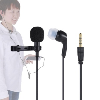 Andoer Mini Clip-on Lapel Lavalier Microphone Mic EarphoneOmni-directional Condenser Hands-free 3.5mm Jack for iPhone 6/6plus/5 iPad Smartphones Computer PC Laptop Loudspeaker Live StreamSinging Outdoorfree ^ - intl