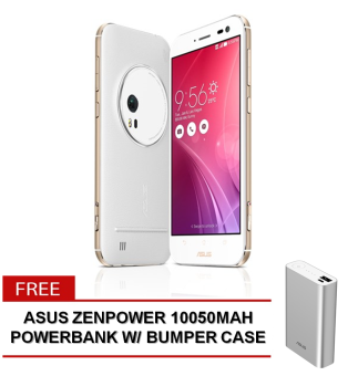 AsusZenFoneZoom 128GB(White)withFREE AsusZenPower10050mAhPowerbankwith BumperCaseworthPhp845 (Silver)
