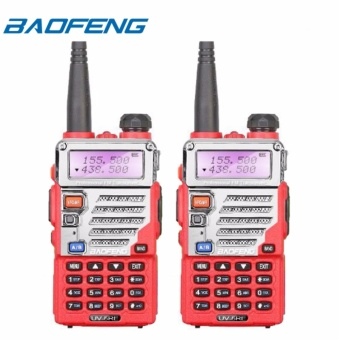 Baofeng UV-5RE VHF/UHF Dual Band Two-Way Radio Set of 2 (Red)