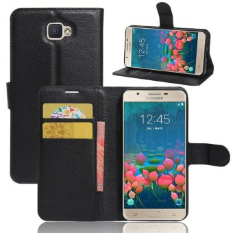 BYT Leather Flip Cover Case for Samsung Galaxy J5 Prime (Black)