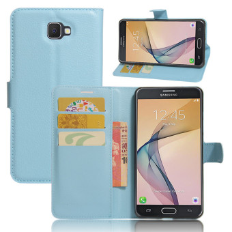 BYT Leather Flip Cover Case for Samsung Galaxy J7 Prime (Blue)