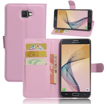 BYT Leather Flip Cover Case for Samsung Galaxy J7 Prime (Pink)