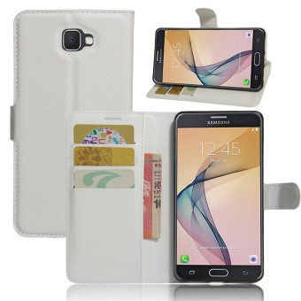 BYT Leather Flip Cover Case for Samsung Galaxy J7 Prime (White)