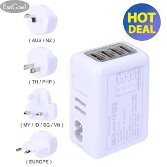 EsoGoal International USB Travel Adapter Universal 4-ports Plug power Charger (White) -intl