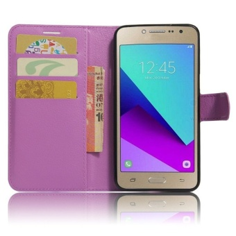 Flip Leather Wallet Cover Case For Samsung Galaxy J2 Prime G532 (Purple) - intl