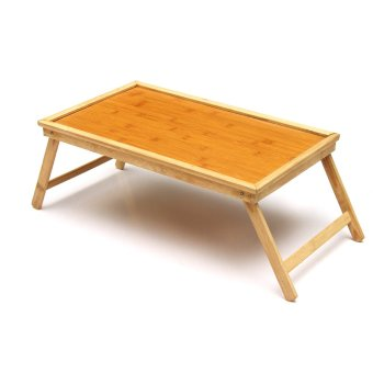 Foldable Wooden Bamboo Bed Tray Breakfast Laptop Desk Tea Serving Table Stand - intl