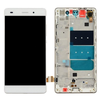 For Huawei P8 Lite LCD Display Screen Panel + Touch Screen Digitizer Glass Lens + Frame Assembly Repair Replacement Part, White - intl
