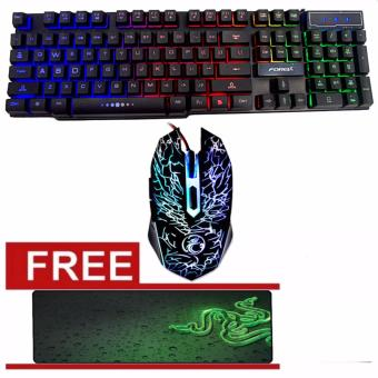 FOREV FV Rainbow Colorful USB Gaming Keyboard with Mouse Combo with Free Razer long Mouse Pad black