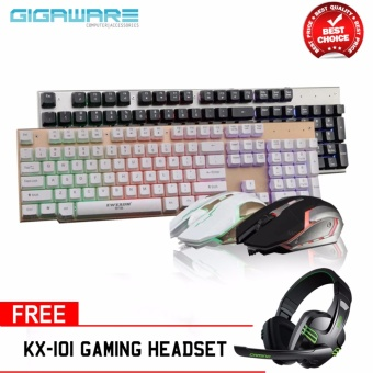 Gigaware LK006 Metal Backlight Gaming Keyboard and Mouse Combo (Black) with Salar KX-101 Gaming Headset