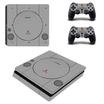 Gray Color Vinyl Skin Sticker for Sony Playstation 4 Slim PS4 Slim Console & 2pcs Controller Protection Film Stickers YSP4S-0952 - intl