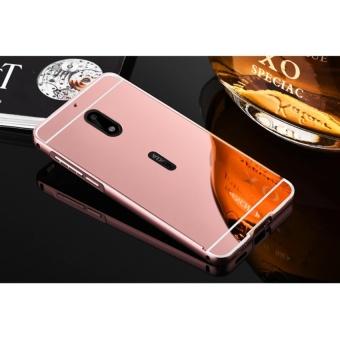 Luxury Mirror Bumper metal Case For Nokia 6(rose gold)