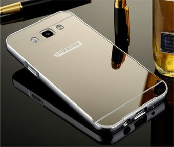 Metal Frame Mirror Back Cover Protection Case For Sam sung Galaxy J7 2016 (Silver)