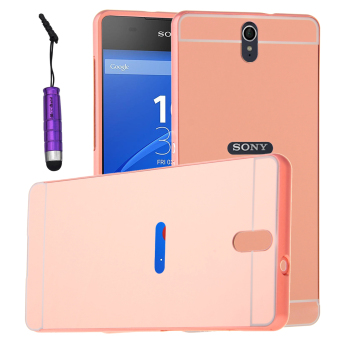 Moonmini Hard PC Cover Mirror Metal Frame Bumper Case for SonyXperia C5 (Rose Gold)