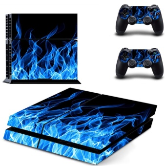 new blue fire Decal PS4 Skin Sticker For Sony Playstation 4 Consolefilm +2Pcs Controllers - intl
