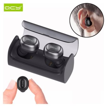 New QCY Q29 Pro Original V4.2 English Version Mini Wireless Bluetooth 4.2 Double Dual Headphone Headset Earphone with Earbuds Mic Charging Box - Elegant Black