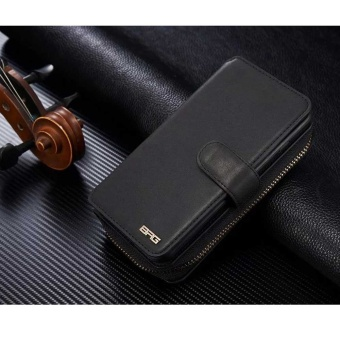 NEW Zipper Leather Cash Multifunction Card Slot Wallet HolsterLeather Case For Samsung Galaxy S7 edge Phones Bag (Black) - intl