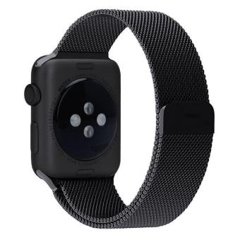niceEshop 38mm Milanese Magnetic Loop Stainless Watch Band StrapLeather Loop For Apple Watch (Black) - intl