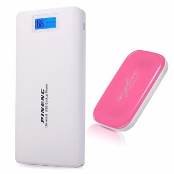 Pineng PN-999 20000mAh Power Bank (White) with iHiki P520 5000Mah My Love 2 in 1 Face Mirror Powerbank (Color May Vary)