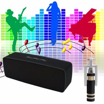 Portable Bluetooth Dual Speakers Ultra Bass (Black) with 703Monopod (Black)