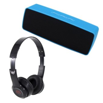 Portable Bluetooth Dual Speakers Ultra Bass (Blue) With J-03Adjustable Stereo Smartphone Headset (Black)