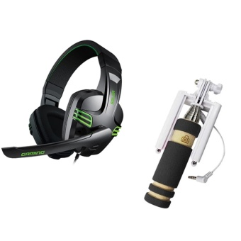 Salar KX-101 Over-the-Ear Gaming Headset (Black) With Mini FoldableAll-In-One Monopod With Remote Clicker