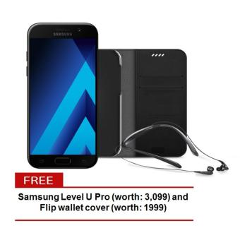 Samsung Galaxy A5 2017 32GB (Black Sky) with Level U Pro and flip wallet cover