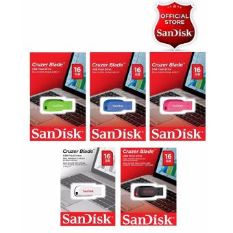 Sandisk 16GB Cruzer Blade USB2.0 Flashdrive Multi-Color SET OF 5