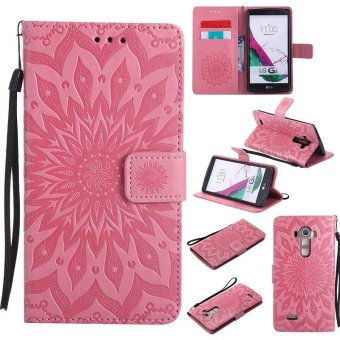 Sunflower pattern PU Leather Wallet Stand Flip Case Cover For LG G4 Case - intl