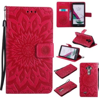 Sunflower pattern PU Leather Wallet Stand Flip Case Cover For LG G4Case - intl