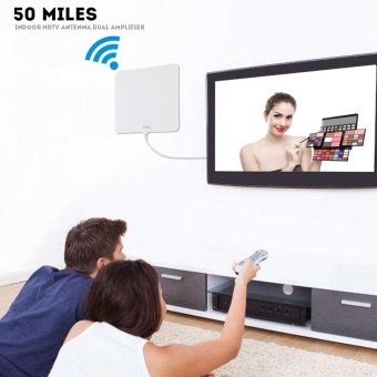 Super Thin Digital Indoor Amplified HDTV TV Antenna - 50 Mile Range with 10 FT Coaxial Cable - intl