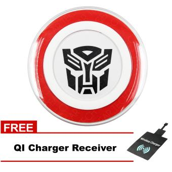 Tech Gear Wireless Charger Round Pad Type Qi Standard for All Typeof Phone (White/Black) Transformers