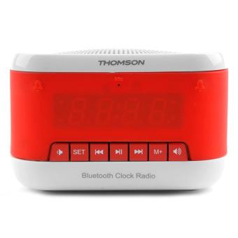 thomson btc 03 bluetooth dual alarm clock radio white red. Black Bedroom Furniture Sets. Home Design Ideas