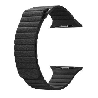 top4cus 38mm Leather Loop with Adjustable Magnetic Closure ForiWatch Band Replacement Bracelet Strap for Apple Watch 38mm ModelSeries 1 and Series 2 - Black - intl