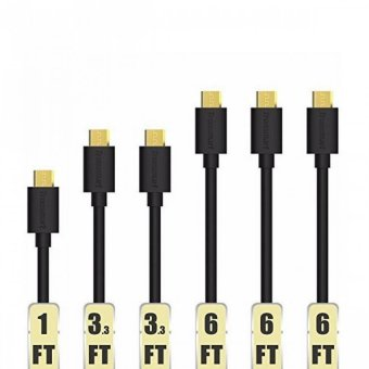 Tronsmart MUPP8 20AWG Gold Plated Male USB to Micro USB Cable Set of 6 (Black)