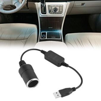 USB Port to 12V Car Cigarette Lighter Socket Female ConverterAdapter Cord - intl