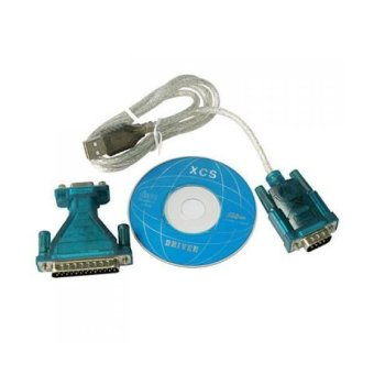 USB to RS232 Connecter Adapter + DB25 Male to DB9 Female Plug Adapter (Blue) - intl